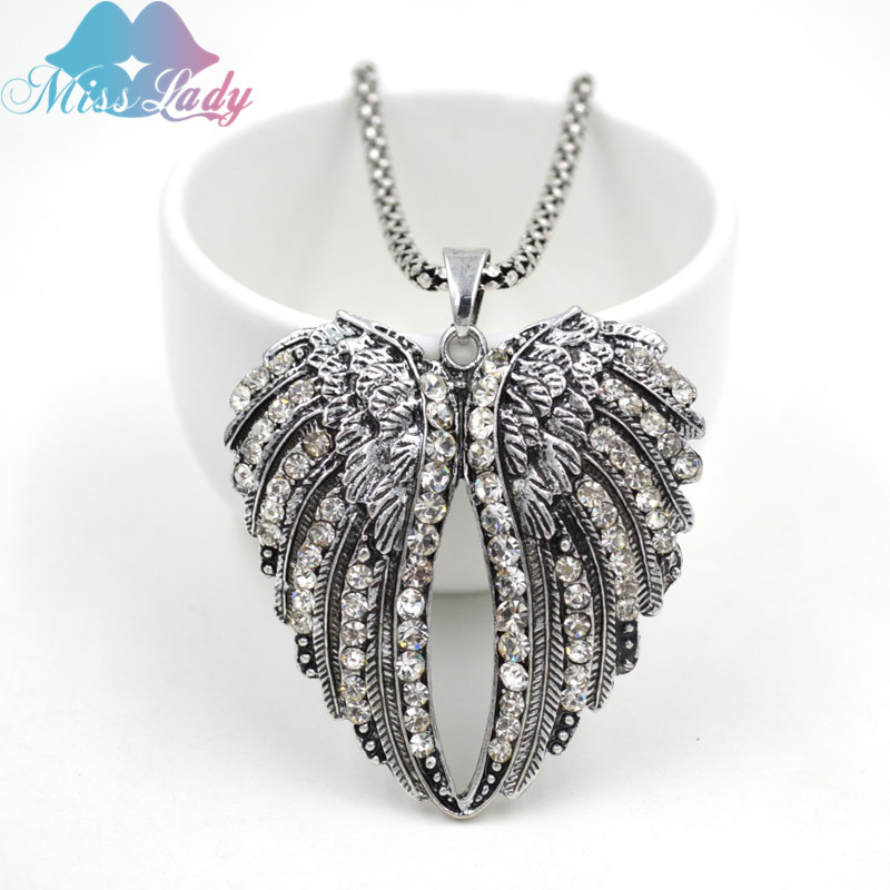 Miss Lady Europe and America peach heart wings Crystal pendant  African  Pendant Necklaces Fashion Jewelry for women MLYHY244