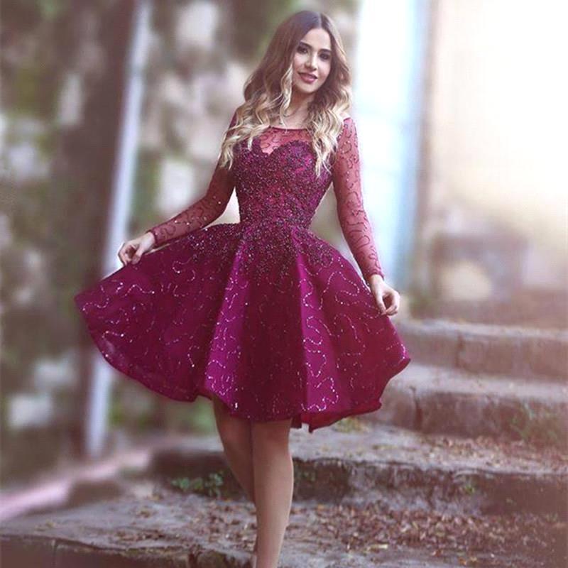 Popular Vestidos De Formatura Short Burgundy Prom Dresses-Buy ...