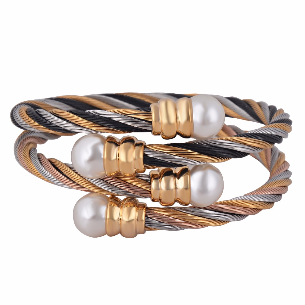 Elastic Adjustable Stainless Steel Jewelry 3 Tone Plating Twisted Cable Cuff Pearl Bangle Bracelet for Women