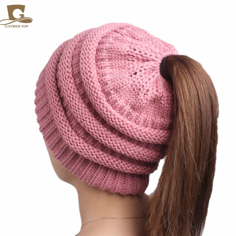 a9f67ebecea 2017 new arrival popular hats Women s beanies hats girls lady hat Tail Soft  Stretch Cable Knit Messy High Bun Ponytail caps-in Skullies   Beanies from  ...