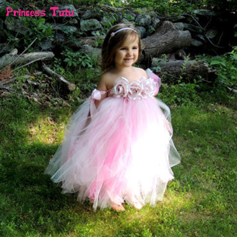 Handmade Pink, Coral Red Cute TUTU Dress Baby Princess Bridesmaid Flower Girl Dresses Tulle Wedding Party Pageant Dresses 1-14Y 2017 pink tulle princess bridesmaid flower girl dresses wedding party prom dress kids clothes