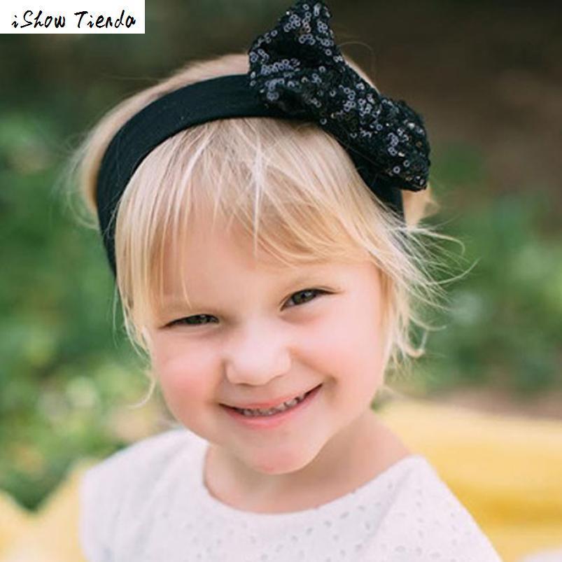 Headband Elastic Ribbon Cute Sequins Bow Girl Hair Accessories Enfeites De Cabelo Infantil #2384 metting joura vintage ethnic tribal bohemian crystal glass beads rhinestone elastic headband hair accessories