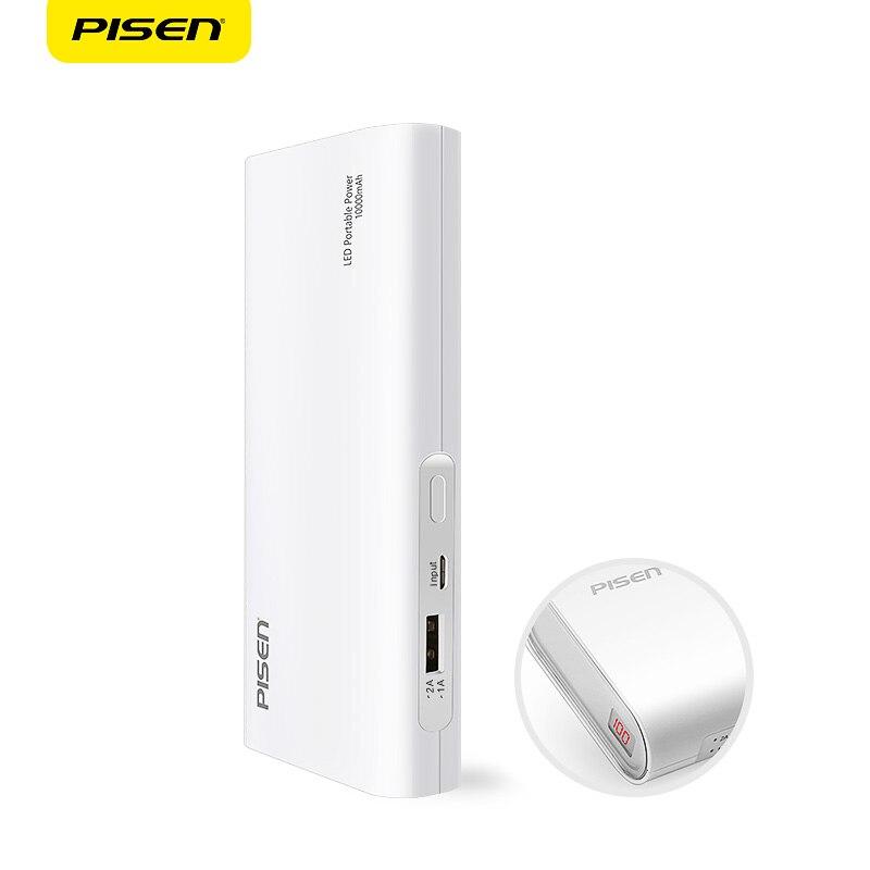 Цена за Pisen Портативный Power Bank 10000 мАч Универсальный Внешняя Батарея Резервного Копирования Зарядное Устройство Смарт-2A USB Зарядное Устройство для iPhone Samsung и Более