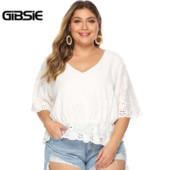 GIBSIE Plus Size Hollow Out Embroidery White Blouse Women's Summer Cotton Peplum Tops V-Neck Half Sleeve Casual Ladies Shirts