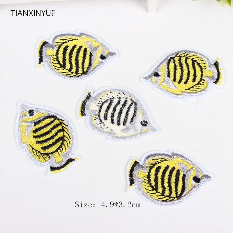 TIANXINYUE 20pcs/lot fish Patch Iron On Applique Fabric Embroidered Motif Biker Chick Lady Decal Sew DIY Accessories(China)