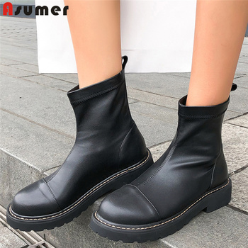 ASUMER 2020 New fashion genuine leather boots women slip on stretch boots autumn black women's ankle boots size 34-42