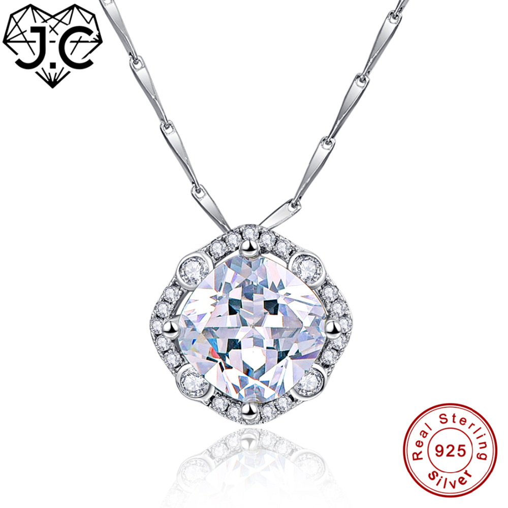 J.C Exquisite Green Amethyst & White Topaz Necklace Solid 925 Sterling Silver Necklace Fine Jewelry for Women Wonderful Pendant