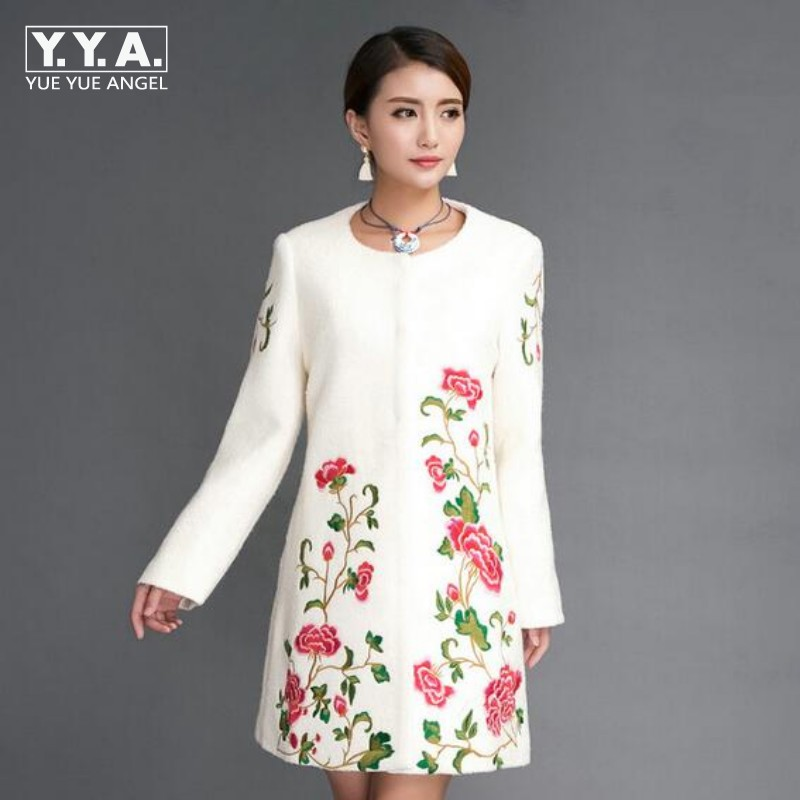 Winter Fashion New Womens Wool Warm Jacket Female Blue Color Flower Embroidery Parka Long Sleeved long trench Coat Outwear deep blue fashion long sleeves side pockets embroidery jacket