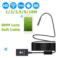 LESHP 8mm 1200P HD WIFI Endoscope Camera Soft Cable 1 2 3 5 5 10M IP68