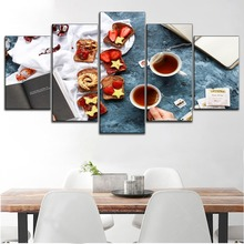5 Piece Canva Painting Marmalade Cheese Toast with Black Tea Type Style Poster Modern Dessert Or Kitchen Decorative Wall Artwork