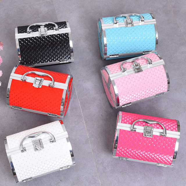 hot new arrivel pillow design Aluminium alloy Make up Box Makeup Case Beauty Case Cosmetic Bag Multi Tiers Lockable Jewelry Box