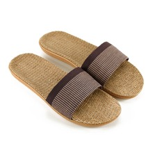 купить 2019 Summer Men Flax Flip Flop Canvas Linen Non-Slip Designer Flat Sandals Home Slippers Man Fashion Slides Casual Straw Shoe дешево