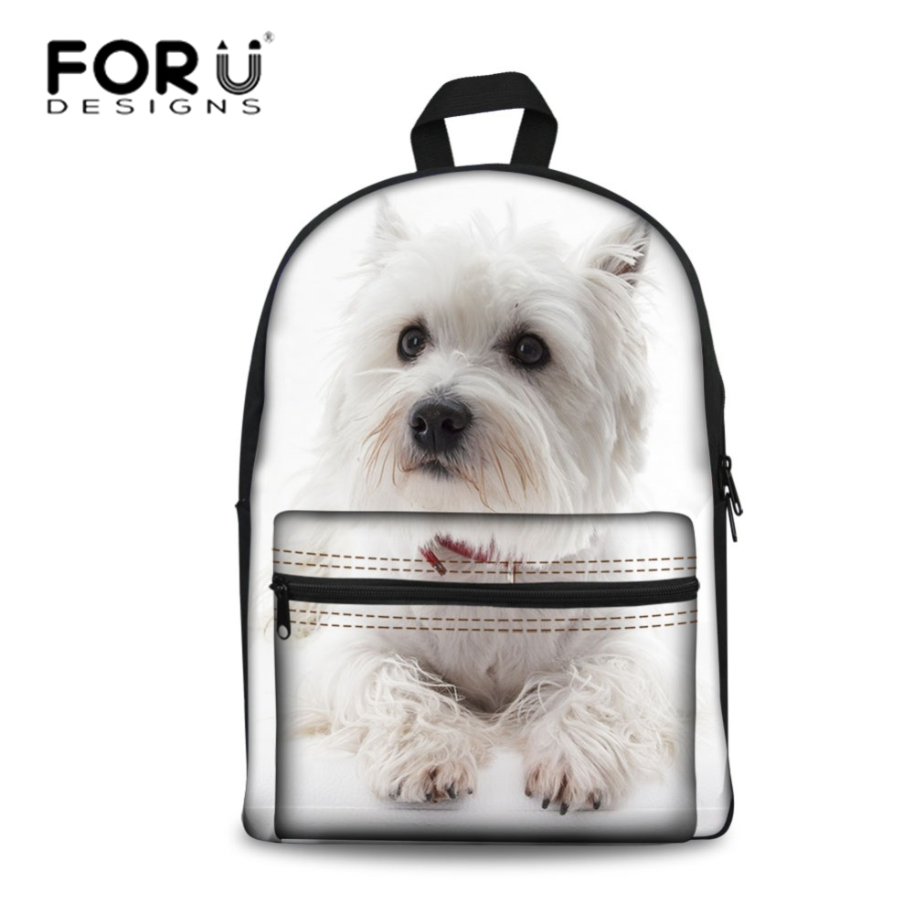 FORUDESIGNS Women Backpac Preppy School Bags for Teenage Girls Backpacks White West Highland Terrier Dog Printing Schoolbag 2018