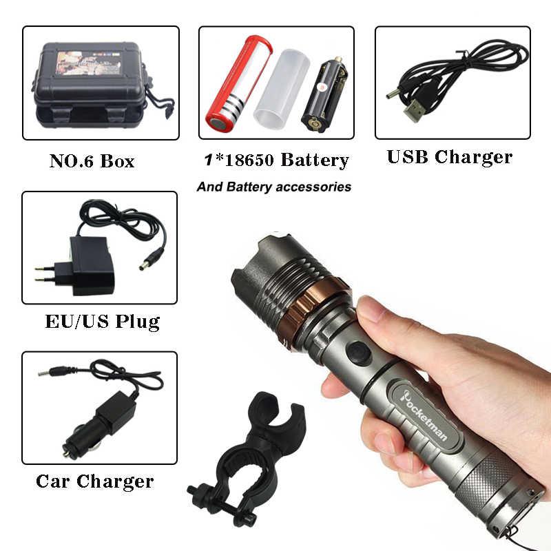 Продвижение набора 8000lm XM-L T6 светодиодный фонарик Перезаряжаемые Фонари Охота фонарик 18650 батарея + зарядное устройство + зажим для велосипеда + коробка