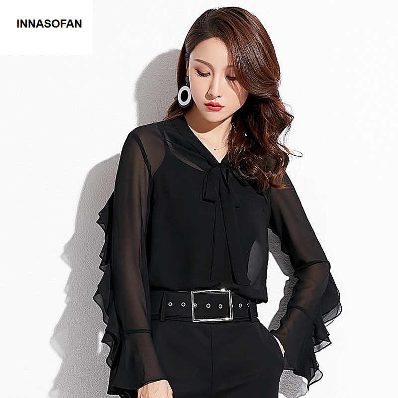 INNASOFAN OL Women's shirt Spring-summer chiffon blouse Euro-American fashion sexy shirt with long sleeves and V-shaped collar