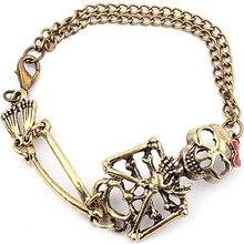 Bronze/Silver Skeleton Skull Hand Bone Halloween Bracelet Bangle Women Party Rock Fine Jewelry Goth Punk Style Design Statement