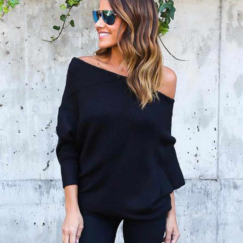 2019 Sexy Slash Neck z dzianiny koszule damskie kobiety popy i bluzki Batwing rękaw Plus rozmiar dorywczo luźne ponadgabarytowych Top Blusas 3XL