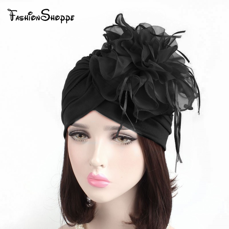 2018 New Hats Womens Ruffle Turban Headwear With Big Poplin Flower Cocktail Wedding Tea Party Hat Indian Turban Prayer Hats chifres malevola png