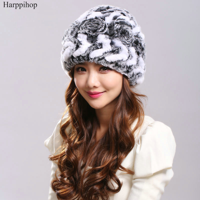 2017 Hot Rabbit fur hat female knitted 100 natural rex rabbit fur winter hat wholesale and