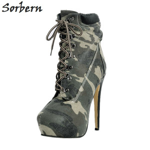 Image 2 - Fashion Denim Women Boots Plus Botas Mujer High Thin Heels Ankle Boots For Women Botte Femme Platform Women Shoes Ankle Boots