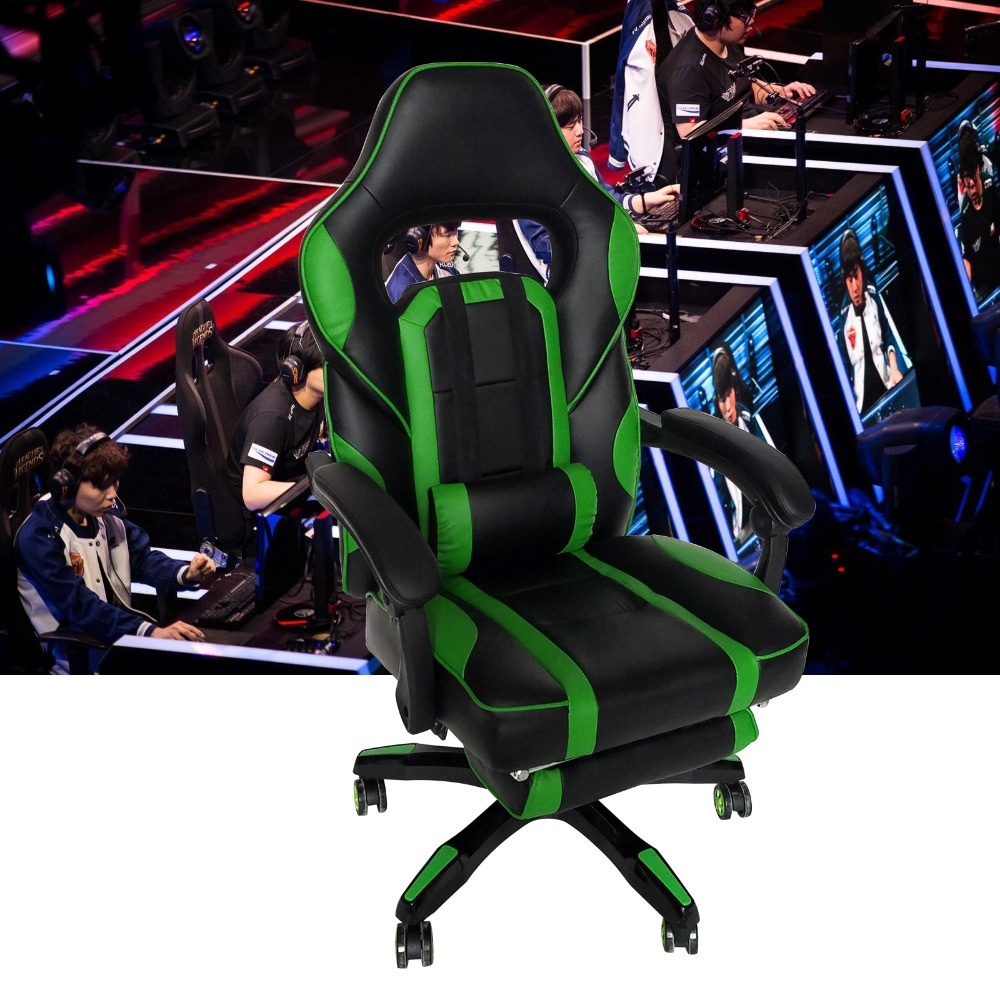 High Back Racing Style Gaming Chair Adjustable Swivel PC Game Chair Office Desk Chair high back race car style bucket seat office desk chair gaming chair gray new cb10068gr