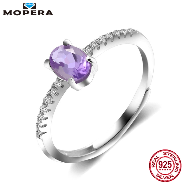Mopera 0.72ct Ovale Ametista Anello Solido 925 Sterling Silver Wedding Bands Anelli Per Le Donne di Modo Amethyst Gemstone Fine Jewelry