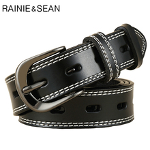 RAINIE SEAN Women Fashion Belts for High Quality Ladies Genuine Leather Hollow Retro Black Punk Rock Cowhide Belt