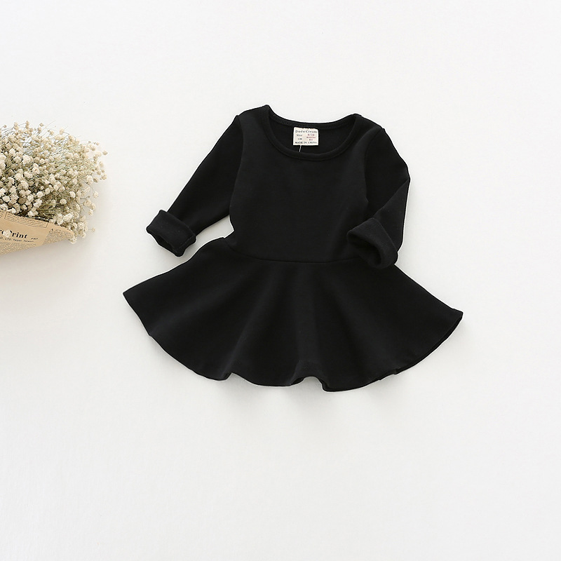 2017 Girls Dress Lotus Leaf Spring Section Cotton Long Sleeved Bottom Dress Children Clothing Kids Dresses For Girls Vestidos T girls dress winter 2016 new children clothing girls long sleeved dress 2 piece knitted dress kids tutu dress for girls costumes