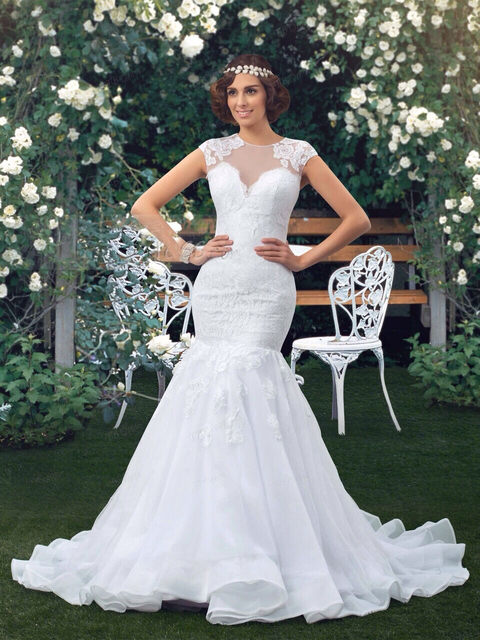 White Mermaid Tail Beach Wedding Dresses Plus Size Scalloped Lace ...