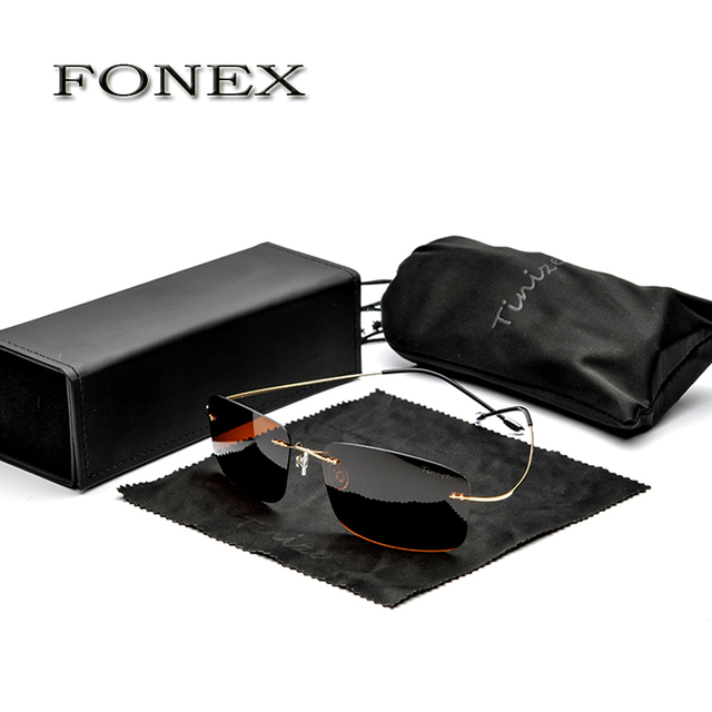 FONEX New Fashion Men Rimless Titanium Sunglasses women's Designer Polarized Square Frame Sun Glasses Shades  weight 12g TZ8616