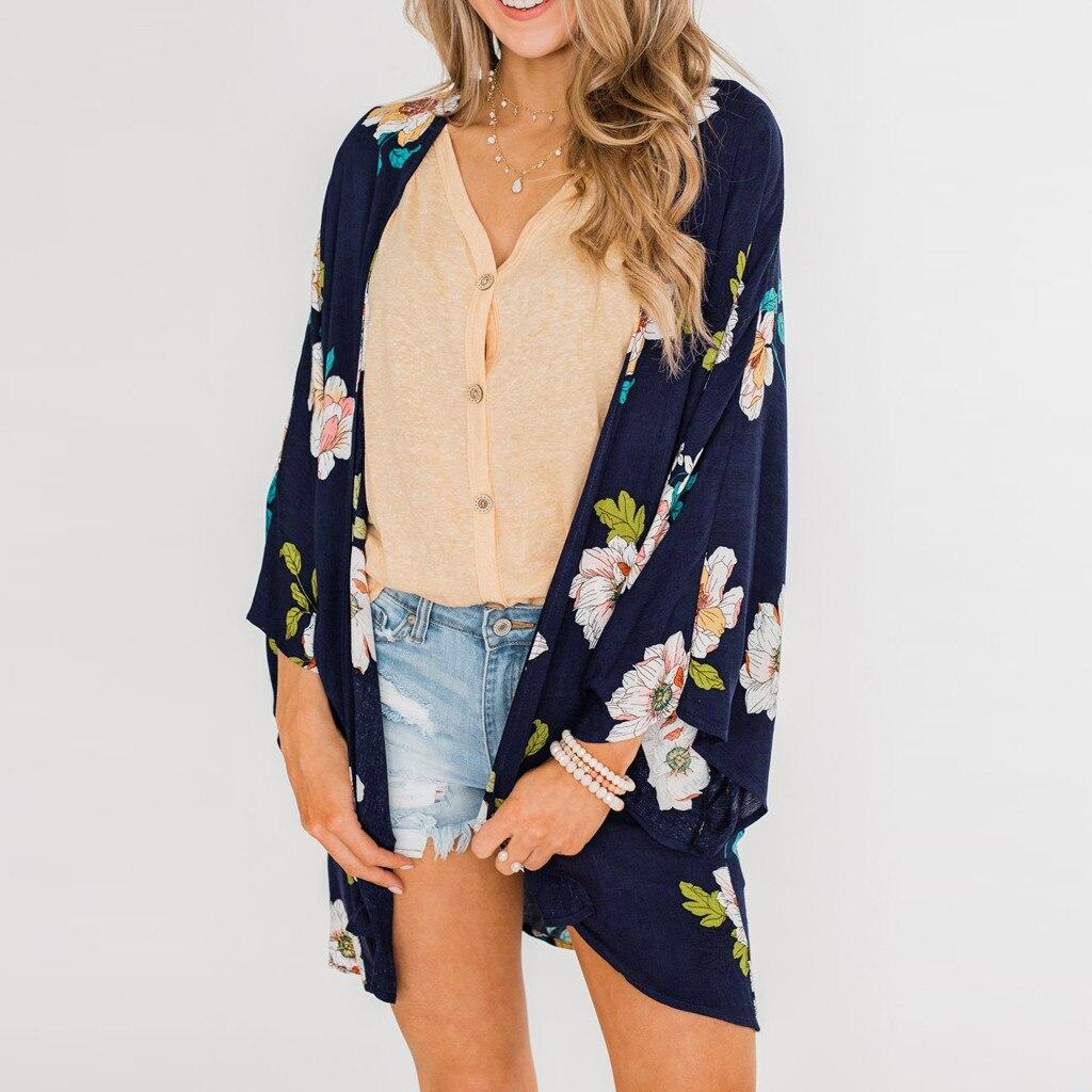 Cover Up Blouse Women Shawl Floral Print Kimono Cardigan Top Beachwear