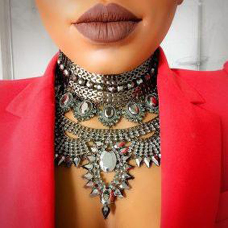 Miwens Luxury Maxi Metal Necklaces Vintage Crystal Choker Party Statement Kvinna Punk Halsband Mode Partihandel kvinnorsmycken
