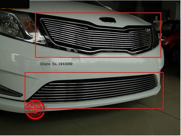 Free shipping stainless steel Front Grille Around Trim Racing Grills Trim For 2011-2012 kia Rio/K2 abs chrome front grille around trim for ford s max smax 2007 2010 2011 2012