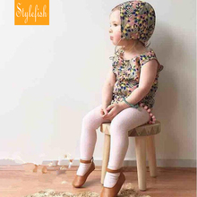 2017 New Female Baby Children Siamese Romper Summer Fluid Systems Floral Triangle Climbing Clothes + Hat