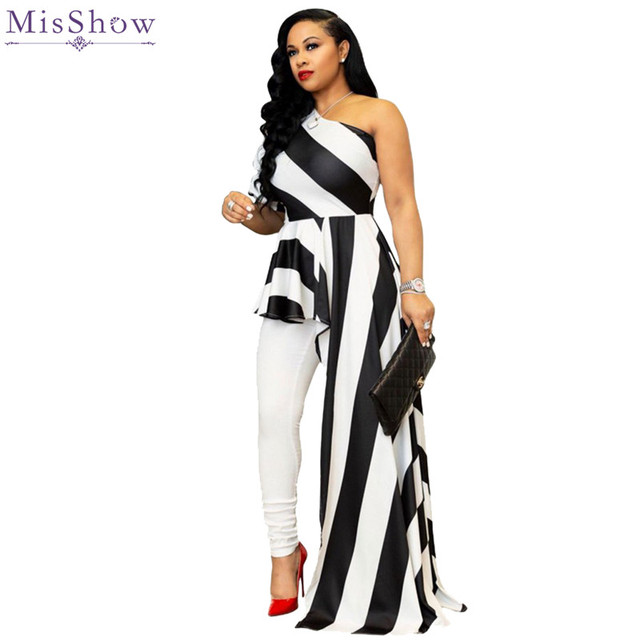671d2977c0 US $18.43 30% OFF Misshow Sexy One Shoulder Plus Size Women Dress 2019  Cheap Striped Asymmetrical Maxi Dress for Women Robe Femme-in Dresses from  ...