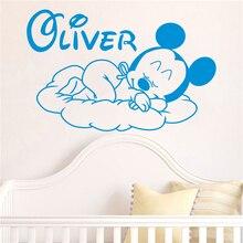 Custom Name Wall Sticker Creative Cartoon New Mickey Goodnight Baby Room Decoration Vinyl Art Design Poster Mural Beauty W65