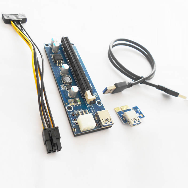 100pcs/lots PCIe PCI-E PCI Express Riser Card 1x to 16x USB 3.0 Data Cable SATA to 6Pin IDE Power Supply for BTC Miner Machine riser card 60cm pcie pci e pci express card 1x to 16x usb 3 0 data cable sata to 6pin ide power supply for miner machine