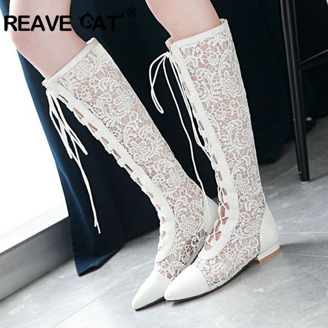 19295a24fc4 REAVE CAT Fashion Women Boots Summer Boots Sexy Lace Cross Tie Boot Knee  High Flat Heels
