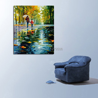 Handpainted 3D Knife Streetscape Oil Painting On Canvas Scenery Picture Wall Art Street Landscape Painting for wall decoration
