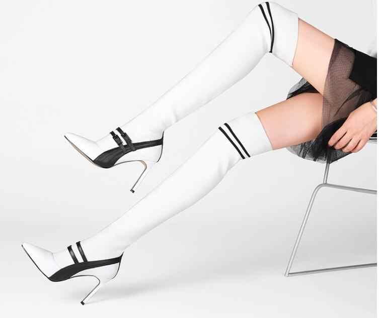 Женские ботинки с острым носком, украшенные пряжкой на ремешке, фирменный дизайн, женские сапоги в белую полоску, женские вязаные сапоги выше колена