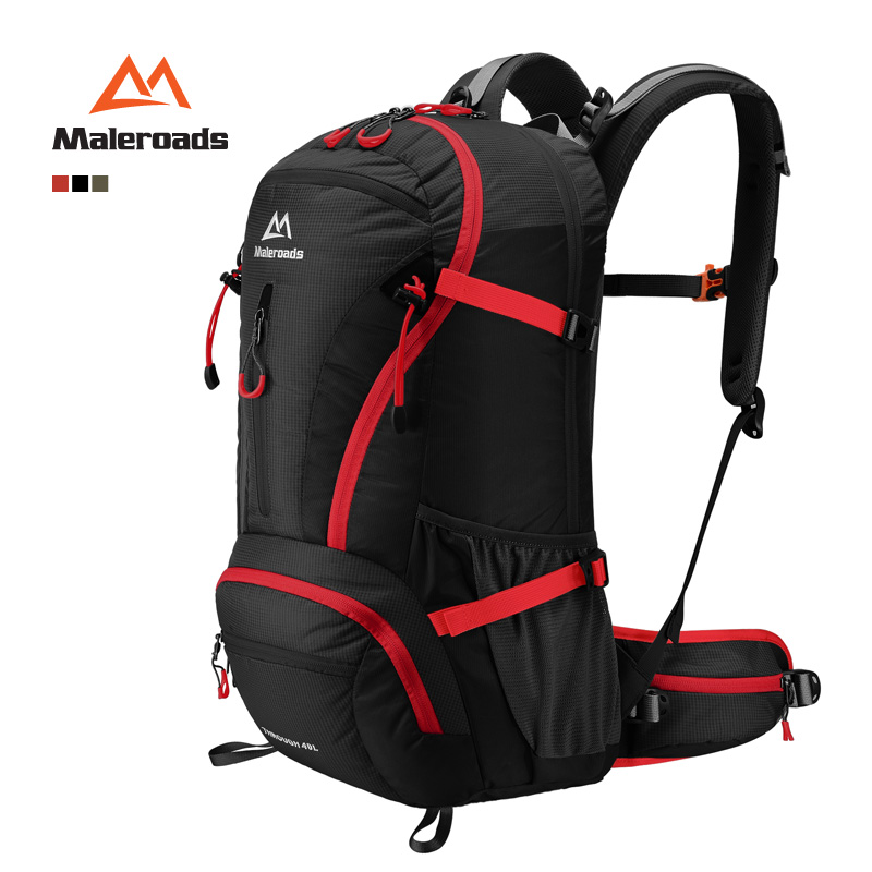Maleroads Top Quality 40L Trekking Rucksack Camp Hike Travel Double-shoulder Backpack Black Climb Bag for Men Women Mochilas l jean camp trust