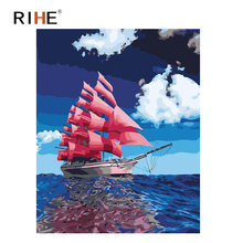 RIHE Midnight Sea Diy Painting By Numbers Red Sailboat Oil On Canvas Hand Painted Cuadros Decoracion Acrylic Paint
