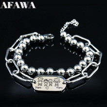 2019 Fashion PAPA and Mama Stainless Steel Bracelets Women Silver Color Double Layer Bracelet Jewelry joyas B18444