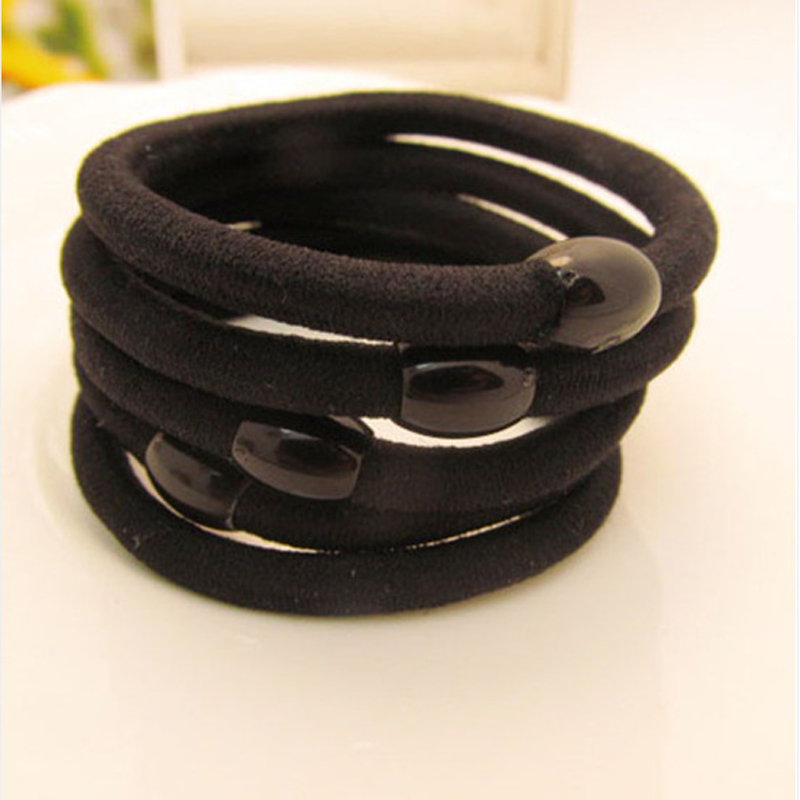 30Pcs Hair Rope Women Bean Black Elastic Ring Elastic Hair Bands Rubber Gum For Hair Accessories Hairband Girl Ties Scrunchy 50pcs black hairband hair elastic bands for ladies elastic ring hair scrunchy tie gum headbands girls hair accessories for women