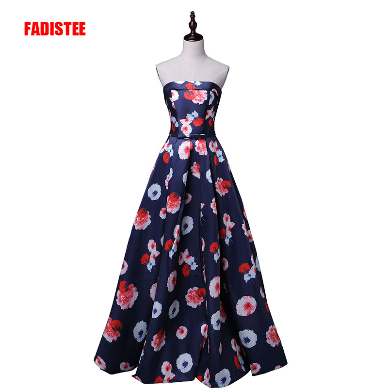 New Arrival Elegant Party Dress Evening Dresses Vestido De Festa Gown Sexy Strapless  Print Satin Dress Prom Long Frock