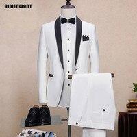 Aimenwant белый свадебный костюм + Брюки для девочек комплект дружки Slim Fit пиджак мужской индивидуальный заказ смокинг Костюмы костюм для выпуск