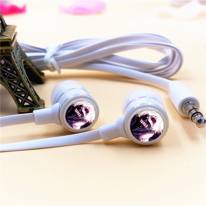 Anime Tokyo Ghoul Cartoon In ear Earphones 3 5mm Stereo Earbuds Microphone font b Phone b