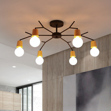 Art Deco Nordic Led Chandelier Lights Fixture Modern Wooden Tree Branch Spider Lamp Luminaire Techo Japan Home Deco Living Room cheap BRIDAY None 90-260V Shadeless ROHS Semiflush Mount Chandeliers iron 3 years LED Bulbs Down