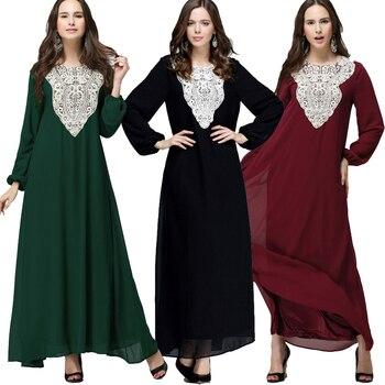 78a75b47a1da1e9 Плюс размеры 5XL 6XL 7XL 2019 Boho абаи мусульмане длинное шифоновое  кружево Макси платье для женщин Дубай турецкий исламский, арабский молитва  кост.