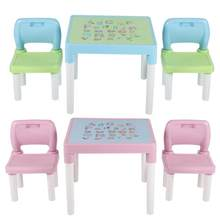 Childrens Kids Plastic Table and Chair Set Learning Studying Desk for Home Kindergarten kids table and chair(China)